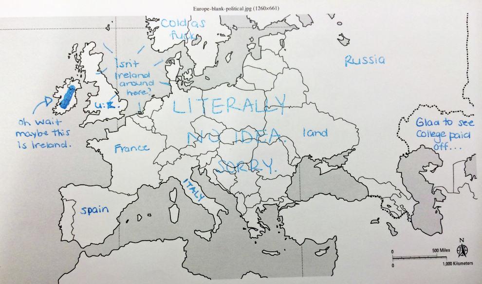 Americani Meli Za Ukol Vyplnit Slepou Mapu Evropy Vysledky Jsou